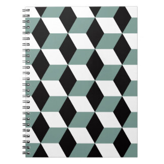 Aqua, Black & White 3D Cubes Pattern Notebook