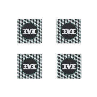 Aqua, Black & White 3D Cubes Pattern Stone Magnet