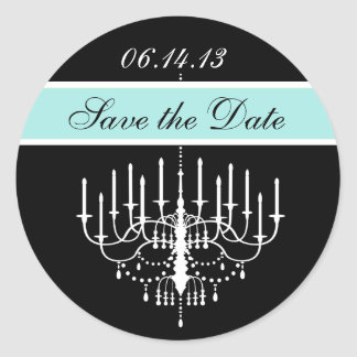 Aqua Black/White Chandelier Save the Date Stickers