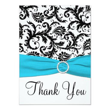 Aqua, Black, White Damask Thank You Card