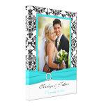 Aqua, Black, White Damask Wedding Canvas Stretched Canvas Prints