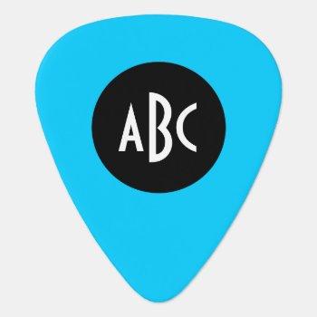 Aqua Black White Monogram Guitar Pick by designs4you at Zazzle