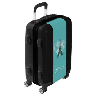Aqua Black White Paris with Name Luggage
