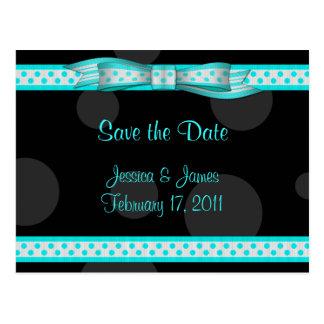 Aqua Black White Polka Dot Save the Date Postcard