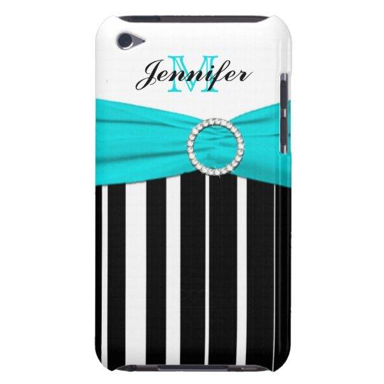 Aqua, Black, White Striped iPod Touch Case