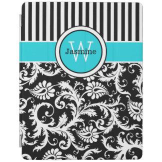 Aqua Black White Stripes Damask iPad 2 3 4 Cover iPad Cover