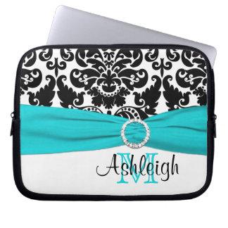 Aqua Black White with FAUX Ribbon Laptop Sleeve