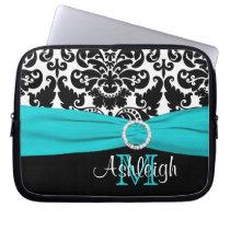 Aqua Black White with FAUX Ribbon Laptop Sleeve at Zazzle