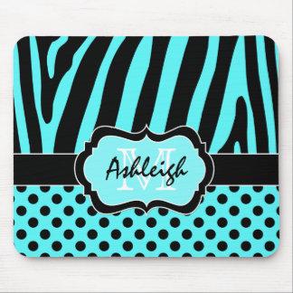 Aqua, Black, White Zebra Stripe & Dots Mousepad