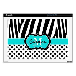 Aqua Black White Zebra Stripe Polka Dot Laptop Laptop Decal