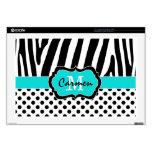 "Aqua Black White Zebra Stripe Polka Dot Laptop 17"" Laptop Decals"