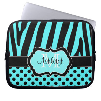 Aqua Black Zebra Stripes Polka Dots Laptop Case