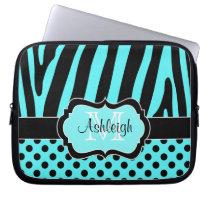 Aqua Black Zebra Stripes Polka Dots Laptop Case Laptop Sleeve at Zazzle
