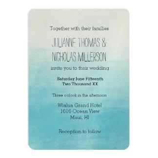 Aqua Bliss Watercolor Ombre Wedding Card