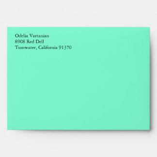 Aqua Blue A7 5x7 Envelopes With Return Address