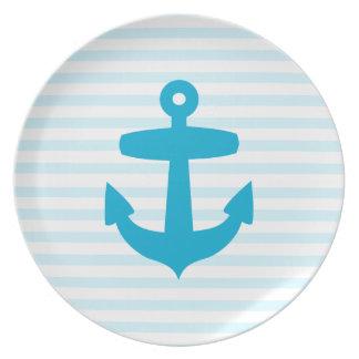 Aqua Blue Anchor and baby blue Sailor Stripes Dinner Plate