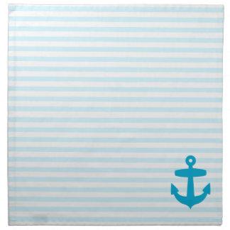 Aqua Blue Anchor and baby blue Sailor Stripes Napkin
