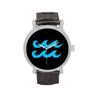Aqua Blue and Black Aquarius Symbol Wristwatches