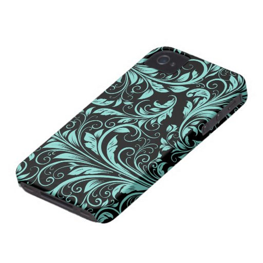 Aqua Blue and black Damask Floral Patterns iPhone 4 Cover