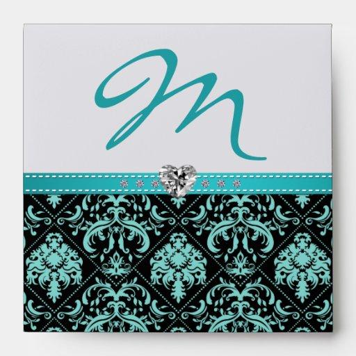 Aqua Blue and Black damask Monogram with Diamonds Envelope