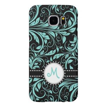 Aqua Blue and black damask with monogram Samsung Galaxy S6 Cases