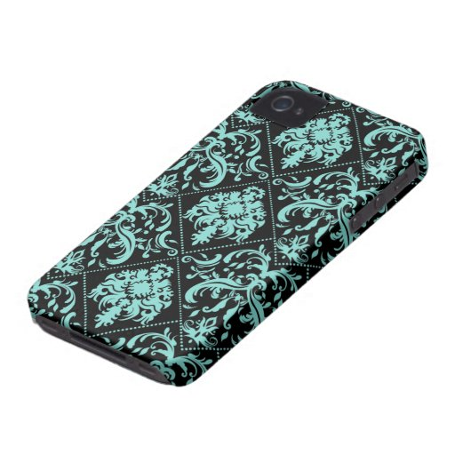 Aqua Blue and Black Damasked Pattern iPhone 4 Covers