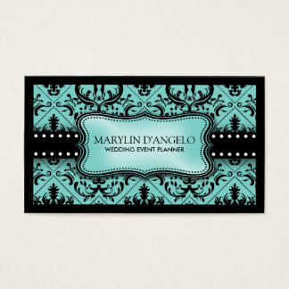 Aqua Blue and Black Vintage Damask Wedding Planner Business Card