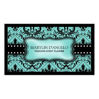 Aqua Blue and Black Vintage Damask Wedding Planner Business Card Template