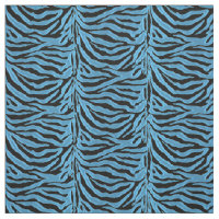 Aqua Blue and Black Zebra Animal Print Fabric