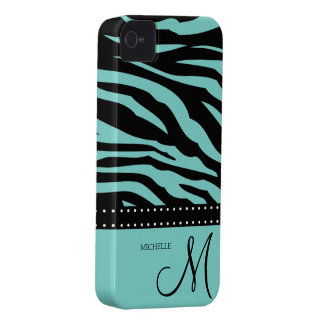 Aqua Blue and Black Zebra Patterns Case-Mate iPhone 4 Case