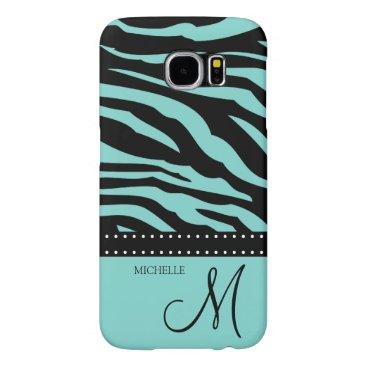 Aqua Blue and Black Zebra Patterns Samsung Galaxy S6 Cases