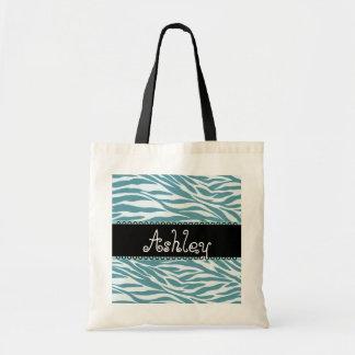 Aqua Blue and Black Zebra Print Wedding Collection Bags