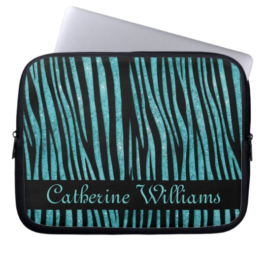 Aqua Blue and Black Zebra Skin Pattern on Glitter Computer Sleeve