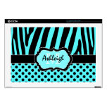 "Aqua Blue and Black Zebra Stripe Polka Dot Laptop Decal For 17"" Laptop"