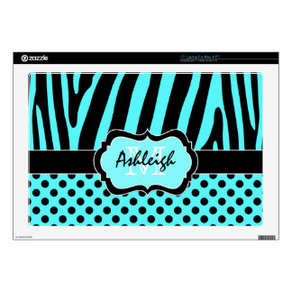 "Aqua Blue and Black Zebra Stripe Polka Dot Laptop Decal For 17"" Laptop"