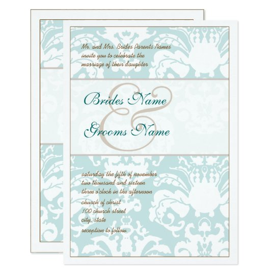 Aqua Blue and Brown Damask Wedding Invitation