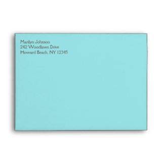 "Aqua Blue and Brown Envelope for 5""x7"" Sizes"
