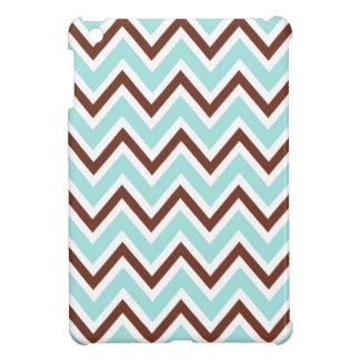 Aqua blue and brown zigzag chevron pattern trendy iPad mini cases