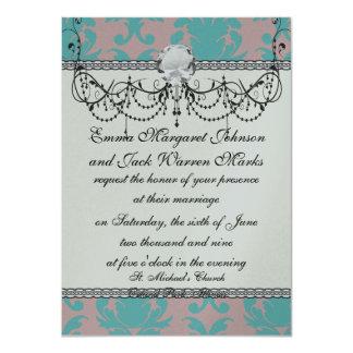 aqua blue and dark carnation pink damask design card