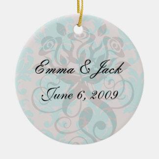 aqua blue and dark carnation pink damask design ceramic ornament