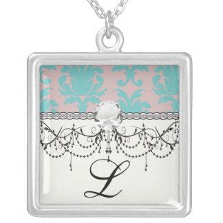 aqua blue and dark carnation pink damask design square pendant necklace