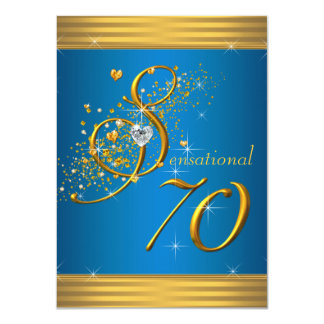 Aqua Blue and Gold 70th Birthday Party Card