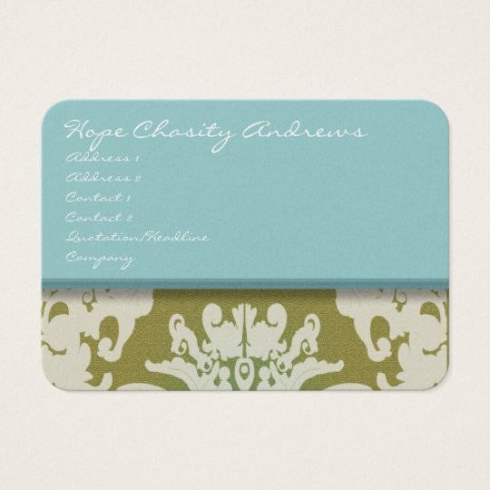 aqua Blue and Gold Damask Floral - Business Card