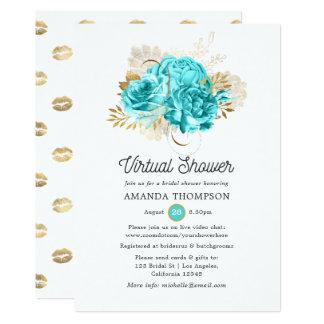 Aqua Blue and Gold Floral Virtual Shower Invitation