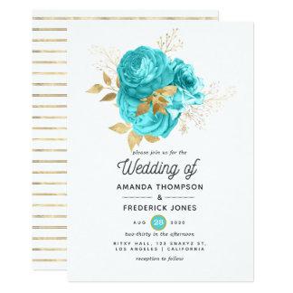 Aqua Blue and Gold Floral Wedding Invitation