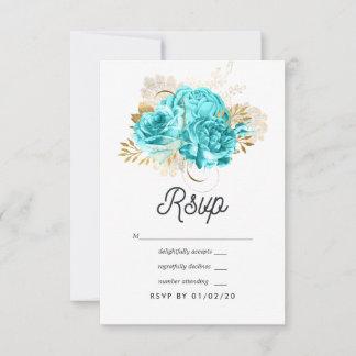 Aqua Blue and Gold Floral Wedding RSVP Card