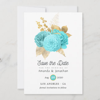 Aqua Blue and Gold Floral Wedding Save The Date