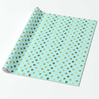 Aqua Blue and Gold Polka Dot Wrapping Paper