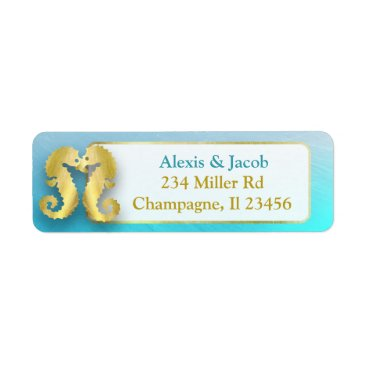 Wedding Themed Aqua Blue and Gold Seahorses Kissing Return Labels