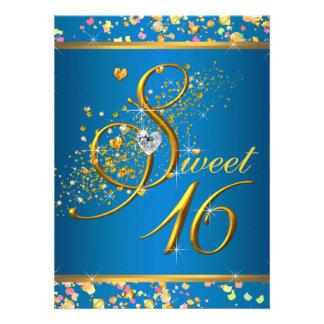Aqua Blue and Gold Sweet Sixteen Party Invitations